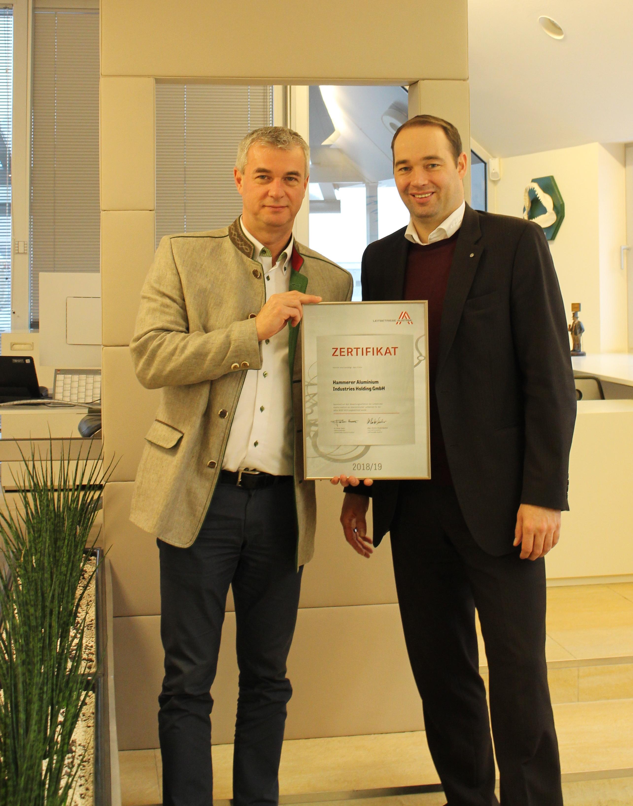 HAI - News - Hammerer Aluminium Industries erhält  Leitbetriebe Austria-Zertifikat